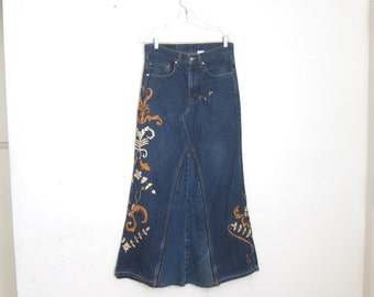 Levi 517 Embroidered Patchwork Maxi Skirt Size 31