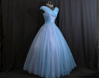 Vintage 1950's 50's 50s BLUE Lavender Ruched CHIFFON Organza Wedding Prom Party DRESS