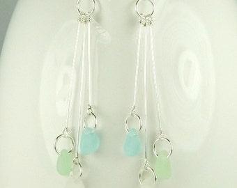 Beach Wedding Earrings, Dangle Earrings Long GENUINE Sea Glass Earrings, Bridal Earrings Bridesmaid, Glass Earrings, Beach Earrings