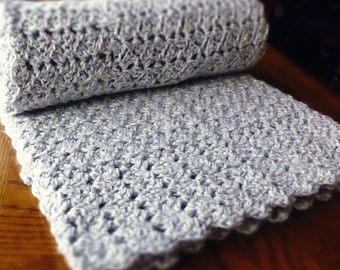 Heather Gray Baby Afghan { grey, white, lightweight, lacy } Handmade Lap Blanket