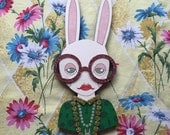Giant Iris Bunny Wall Hanging - Green