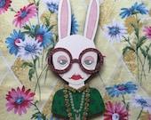 Giant Iris Bunny Wall Hanging - Green