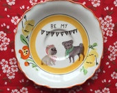 Be My Valentine Pug Couple with Deco Floral Vintage Illustrated Valentines Day Plate