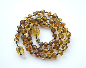 """13.8"""" Natural Baltic Amber child necklace,  teenager neclace, polished beads, greenish amber"""