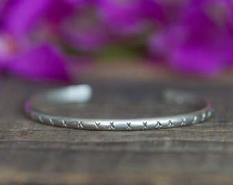 Textured Sterling Silver Cuff Bracelet Silver Bracelet Bohemian Bracelet Boho Chic Sterling Silver Bracelet Textured Cuff Bracelet