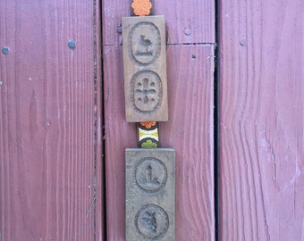 Vintage ribbon with wooden butter molds