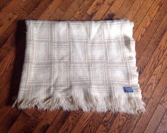 Vintage Pendelton Virgin Wool Blanket Throw 42 x 52