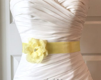 Yellow Bridal Sash Belt, Soft Yellow Flower Girl Sash with silver seed beads Petite Josie