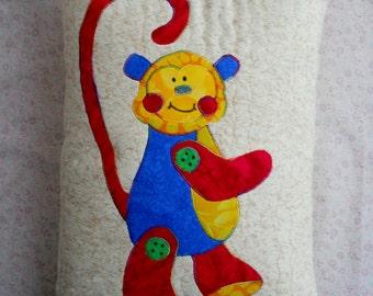 Monkey Zoo Circus Jungle Pillow Toy Monkey Red Green Yellow Cream Mix and Match Baby Animals Ape Pillow Bench Pillow Kids Pillows Preschool