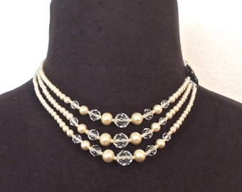 vintage art deco necklace - 1920s-30s seed pearl/sterling silver necklace