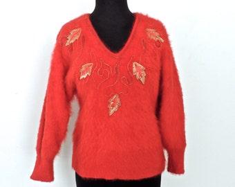vintage angora sweater - 1980s Christine Phillipe' red wool angora sequined sweater