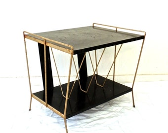 vintage atomic record table - 1950s-60s mid century metal table shelf