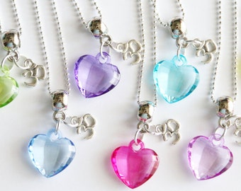 Yoga Party Favor Necklaces 3D Birthday Party 10+ Mixed Colors Heart Necklaces, Breathe and Love, Yoga Favors, Yoga Party for Girls