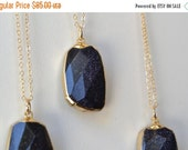 VALENTINES SALE Dark Galaxy /// Blue Goldstone Necklace /// 24kt Gold Electroformed /// Layering, Natural, Stone, Bohemian