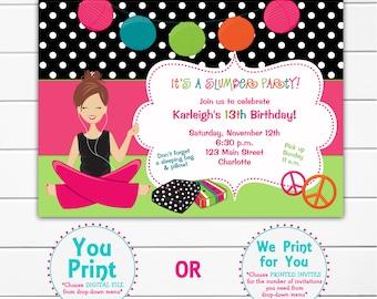 slumber party birthday party invitation -  pajama party, sleepover-  girls birthday party invitation - You print or I print