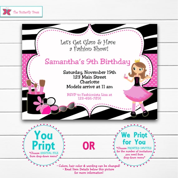Glamour Birthday Party Invitation -- fashion show, make up, glamour