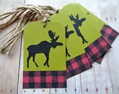 Christmas Tags Moose Silhouette Rustic Country Woodland Christmas
