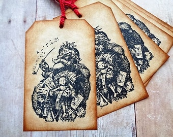 Christmas Tags St. Nick Old Fashioned Santa Rustic Vintage Style