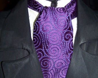 Cravat or Ascot Dark Purple Brocade Swirl Pattern Fabric or Ascot Mens Victorian Tie or great for a wedding