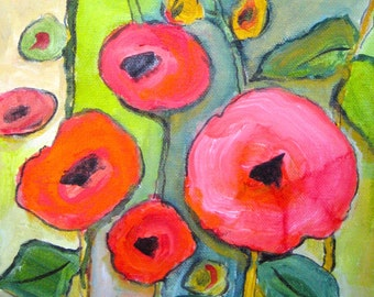 Original Poppy flower painting TITLE-Poppies in bloom-1 contemporary art, red poppy flower painting