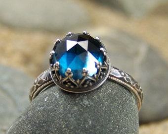 Round Deep Waters Ring 8mm Round Rose Cut London Blue Topaz in Heart Crown Bezel with flower band
