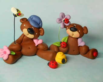 FREE SHIPPING! Polymer Clay Bear with Bumble Bee on Wire and Bear with Ladybug on Flower Two Piece SET Clay Babies Helen Terlalis Dorn