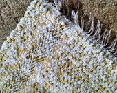 Yellow hand woven rag rug, 5 ft long, made in USA