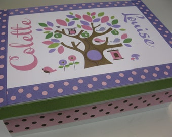 Girl Treetop Baptism Keepsake Box pink and lavender