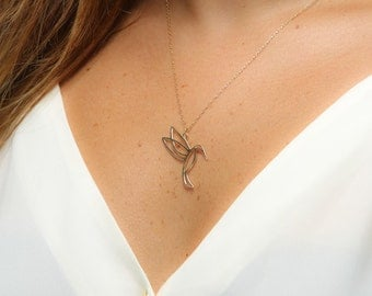 Gold plated Hummingbird necklace -  gold plated hummingbird . gold plated chain. modern charm jewelry