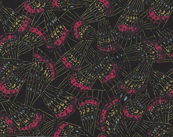 Cotton Fabric - Butterflies on Black by Exclusively Quilters - by the yard