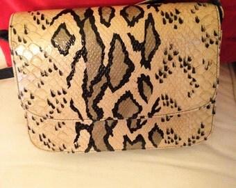 60's Python Print Leather Shoulder Bag