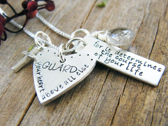 guard your heart necklace, sterling silver hand stamped with cross and crystal quartz