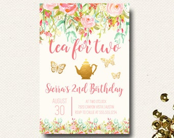 Tea Party Invitation Tea for Two Birthday Invitation Floral Pink Garden Party DIY Printable