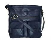 Navy Blue Leather Bag, Cross-body Purse, Handbag, Iris