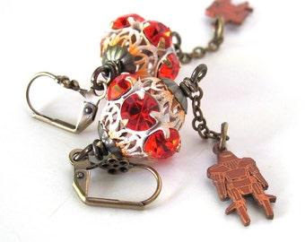 Rather unique orange rhinestone earrings robot earrings robot jewelry unique earrings odd jewelry  robots unusual jewelry strange jewelry