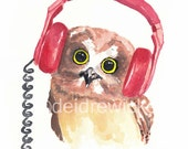 Owl Watercolor Painting PRINT - Music Art, Headphones, 5x7 Print