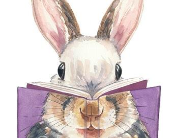 Rabbit Painting Watercolor PRINT -  Cover Art, Nursery Art, Squirrel Watercolor, 11x14 Print