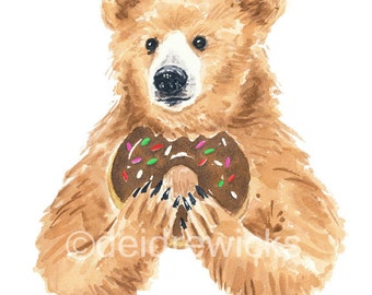 Bear Watercolor 8x10 PRINT - Bear With Donut, Grizzly Bear, Nursery Art, Doughnut Art