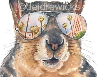 Squirrel Watercolor - 11x14 PRINT, Vacation Art, Fox Squirrel, Watercolor Painting, Nursery Art