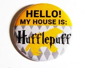 Harry Potter Buttons Geeky Accessories Hufflepuff Hogwarts Yellow Plaid Pattern Fandom Apparel