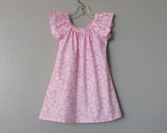New! Girls Pink Flutter Sleeve Dress - Soft Pink with White Roses - Pink & White Short Sleeved Dress - Size 12m, 18m, 2T, 3T, 4T, 5, 6 or 8