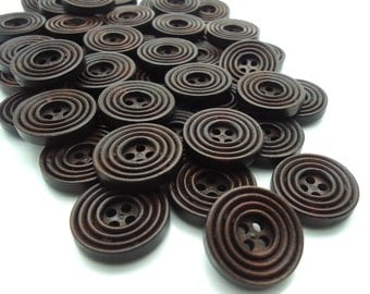 20 x Dark Chocolate Wooden Buttons - Natural Wood - Ribbed Buttons - 20mm