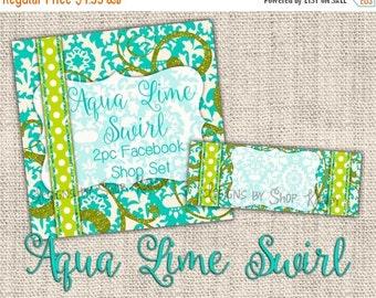 Glitter Facebook Timeline Set - Facebook Profile Image - Turquoise Lime Swirls - Glitter Timeline Cover - Facebook Shop Banner - FB Timeline