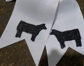 White cheer spirit style bow black glitter show cattle