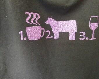 Black cotton/spandex blend tank top coffee cows wine in purple glitter