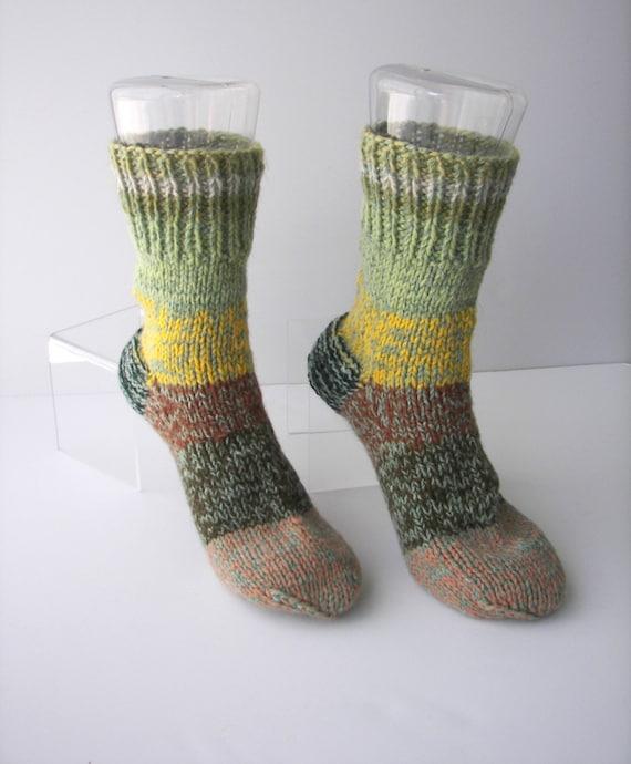 Rustic 100 wool hand knit socks in green brown textile art for Warm cabin socks