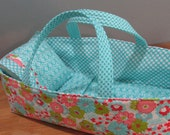 Doll Carrier, Flowers, Toddler Gift, Aqua Lining