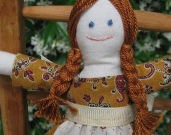 Hand made small rag doll -  Emily in yellow and red print dress with white apron
