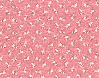 cream bunnies on pink from the Retro 30's child smile Spring 2016 collection by Lecien