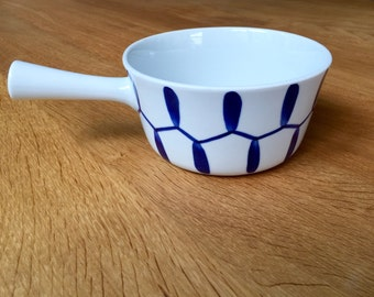 1960's Lyngby Fenmark porcelain serving pot saucepan with handle